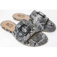 Sandália Rasteira Mizzi Shoes Cobra Feminina - Feminino-Preto+Branco