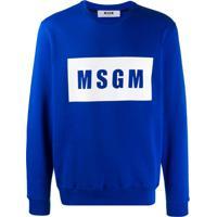 Msgm Moletom Com Estampa De Logo - Azul