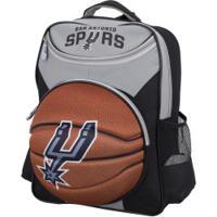 Mochila Nba San Antonio Spurs 3D Bola - Infantil - Cinza/Preto