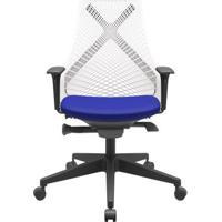 Cadeira Office Bix Tela Branca Assento Aero Azul Autocompensador Base Piramidal 95Cm - 64052 - Sun House