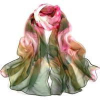 Lenço Estampado Aquarelado Grande Echarpe Xale Tons Feminino - Feminino-Rosa
