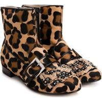 Nº21 Kids Studded Fringed Ankle Boots - Marrom