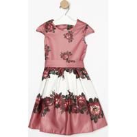 Vestido Floral Acetinado- Rosa Escuro & Vermelho- Bebela Fiolla