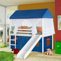 Cama Escorregador Tenda Castelo Azul Mosquiteiro E Grade