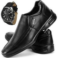 Sapato Conforto Social Sapatofran Com Relógio Masculino - Masculino-Preto