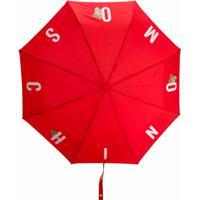 Moschino Guarda-Chuva Com Estampa De Logo - Vermelho