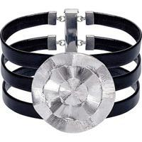 Bracelete De Couro E Prata Catavento Uber47 - Feminino-Prata+Preto