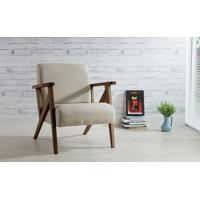 Poltrona De Madeira Decorativa Bege - Poltrona Confortável Para Sala E Quarto - Verniz Capuccino \ Tec.924 - Anis 72X76X85 Cm