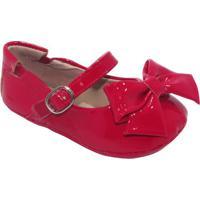 Sapato Boneca Com Laço & Fivela - Vermelho- Luluzinluluzinha