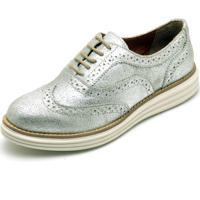 Sapato Oxford Casual Conforto Camurça Prata