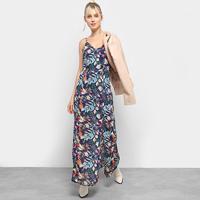 Vestido Heli Longo Floral Regata Fendas - Feminino-Azul