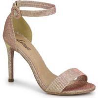 Sandália Salto Fino Lara Dourado Dourado