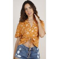 Blusa Feminina Cropped Estampada Floral Com Amarração Manga Curta Decote V Caramelo