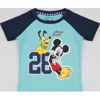 Camiseta Infantil Com Estampa Mickey E Pluto Manga Curta Raglan Gola Careca Verde Água
