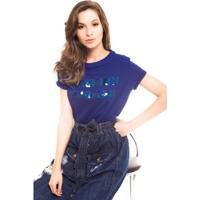 Camiseta Daniela Cristina Com Bordado Fonte Feminina - Feminino-Azul