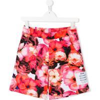Msgm Kids Short Esportivo Com Estampa Floral - Rosa