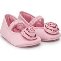 Monnalisa Floral Embellished Ballerinas - Rosa