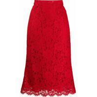 Dolce & Gabbana Saia Reta Com Renda - Vermelho