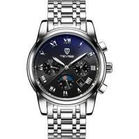 Relógio Tevise 9005 Masculino Automático Pulseira De Aço - Branco E Preto