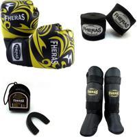 Kit Muay Thai Luva Bucal Caneleira Bandagem 08 Oz Tribal - Masculino