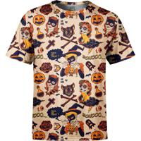 Camiseta Estampada Over Fame Halloween Bege