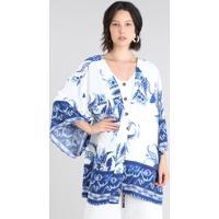 Kimono Feminino Estampado Floral Off White