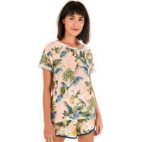 Camiseta Farm Rio Malha Flora Da Bahia - Feminina - Rosa Cla/Verde