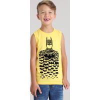Regata Infantil Batman Gola Careca Amarela