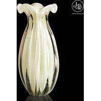 Vaso Texturizado- Incolor & Off White- 24Xø12Cm-Cristais São Marcos