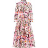 Prada Vestido Com Estampa Abstrata - Rosa