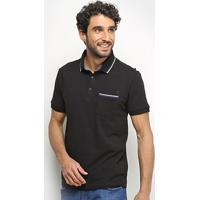 Camisa Polo Forum Frisos Bolso Masculina - Masculino-Preto