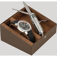 Kit De Relógio Analógico Mondaine Masculino + Canivete - 99350G0Mvni1Ka Preto - Único