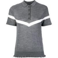 Cashmere In Love Camisa Polo Com Acabamento De Babados - Cinza