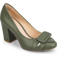 Sapato Tradicional Em Couro Com Recorte Frontal - Verde Capodarte