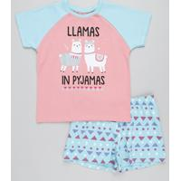 Pijama Infantil Raglan Lhama Manga Curta Coral