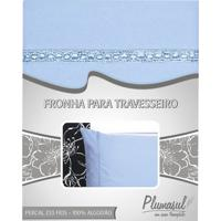 Fronha-Percal 233 Fios-Azul Com Sianinha Azul-50X90