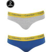 Kit 2Pçs Calcinha Calvin Klein Underwear Tanga Logo Azul/Cinza