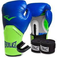 Kit Boxe Elite Everlast 14Oz Azul Com Verde - Unissex