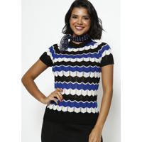Blusa Em Tricot Vazado Listrada - Azul & Pretaponto Aguiar