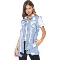 Colete Jeans Denuncia Destroyed Azul