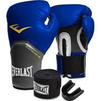Kit Boxe Elite Everlast 14Oz Azul - Unissex