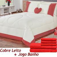 Kit 11 Peças Combo Cobre Leito C/ Almofada Jogo De Banho Amore Vermelho Queen Percal 180 Fios