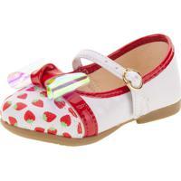 Sapatilha Infantil Baby Bailarina Kidy - 0150365 Branco/Vermelho 16