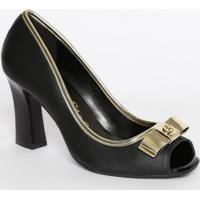 Peep Toe Em Couro Com Laço- Preto & Dourado- Salto: Carmen Steffens