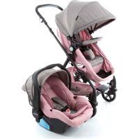 Carrinho Para Bebê Travel System Duo Poppy Rosa Mescla Cosco