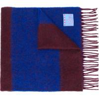 Kenzo Cachecol De Lã Com Listras - Azul