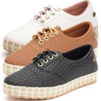 Kit 3 Tênis Sapatênis Ousy Shoes Sola Tricê Lançamento Preto Branco Caramelo