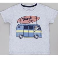 "Camiseta Infantil Com Estampa Interativa ""Shark Car"" Manga Curta Cinza Mescla Claro"