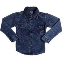 Camisa Manga Longa Infantil Para Menino - Azul