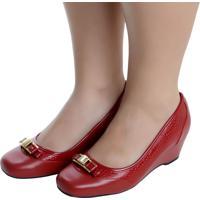 Sapato Fechado Laura Prado Confort Anabela Vermelho